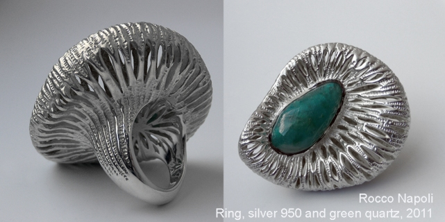 "53 GRAMOS DE AGUA Y LUNA Ring, 5 cm in diameter, silver 950 and green quartz, metal casting work, one of a kind. 2011, showed at ""Concurso Nacional de Joyería Contemporánea"" exhibition, Municipalidad de Santiago, Chile."
