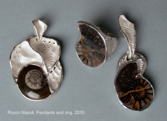 AMMONITES Pendants and ring, silver 950 and fossil, metal casting work, one of a kind, 2010.