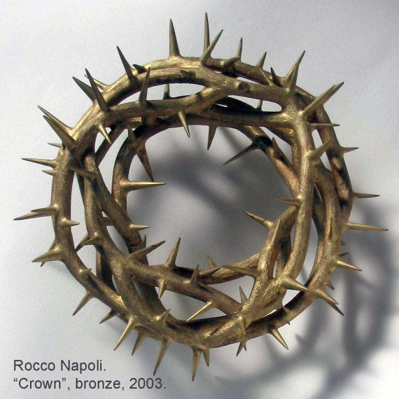CROWN Sculpture, 27 cm in diameter, brass, metal casting work, 2003.