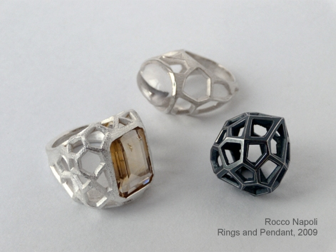 Rings and Pendant, silver 950 and citrine quartz, metal casting work, one of a kind, 2009.