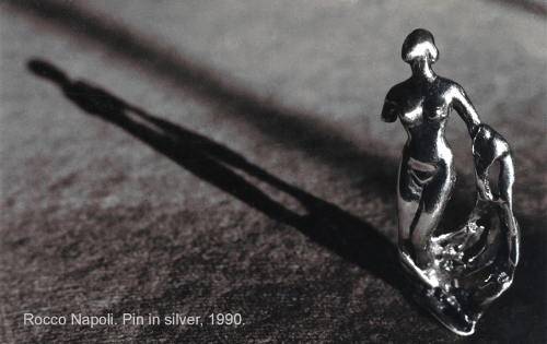 Pin, L 6,5 cm, silver 950, metal casting work, one of a kind, 1990.