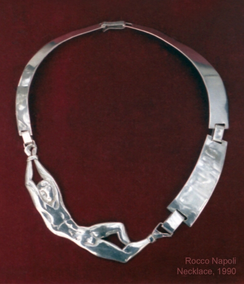 Necklace, diameter 17 cm, silver 950, metal casting work, one of a kind, 1992.