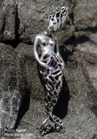 Pin, L 6 cm, silver 950 and amethyst, metal casting work, one of a kind, 1993.