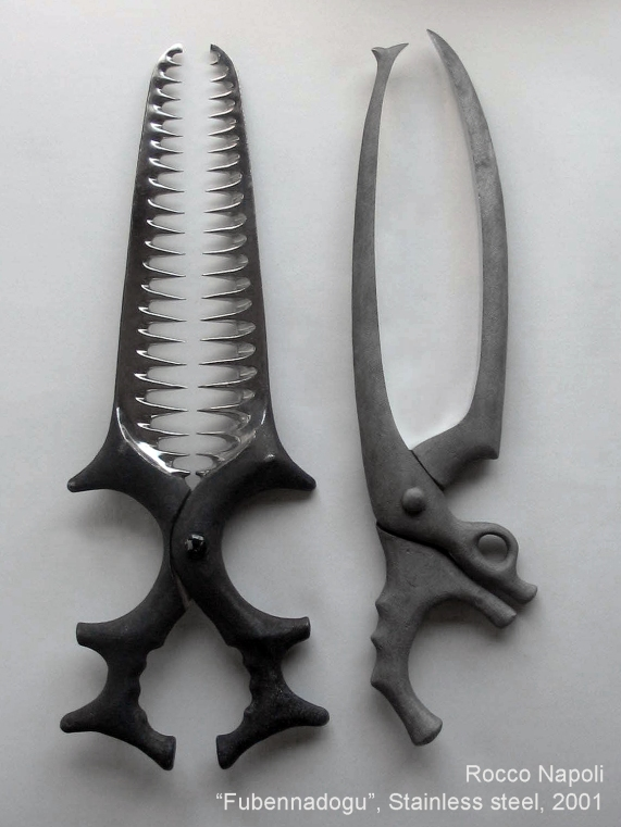 FUBENNADOGU · USELESS TOOLS Sculptures, 62 cm in height, stainless steel, metal casting work, 2001.