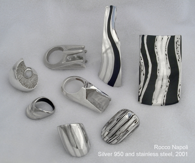Rings and Pendants, silver 950, stainless steel, quartz crystals, labradorite and japanese lacquer, lost wax casting, one of a kind, 2001.