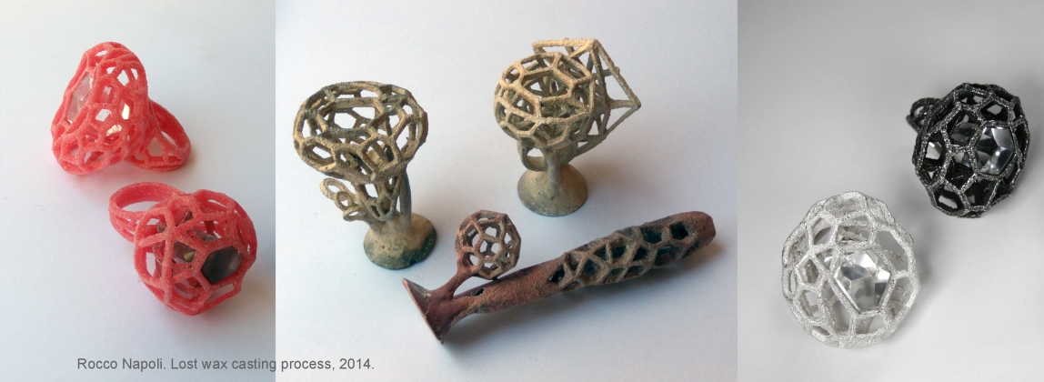CASTING Three stages in lost wax metal casting process. One of a kind pieces in silver and copper-silver alloy.