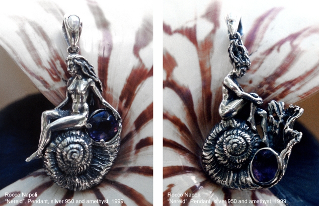 NEREID Pendants, 6 cm in length, silver 950 and amethyst, metal casting work.