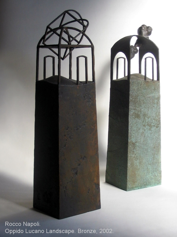 "OPPIDO LUCANO LANDSCAPE Sculpture, 78 cm in height, bronze, metal casting work. Showed at ""SANO RENAISSANCE"" contest exhibition 2002."