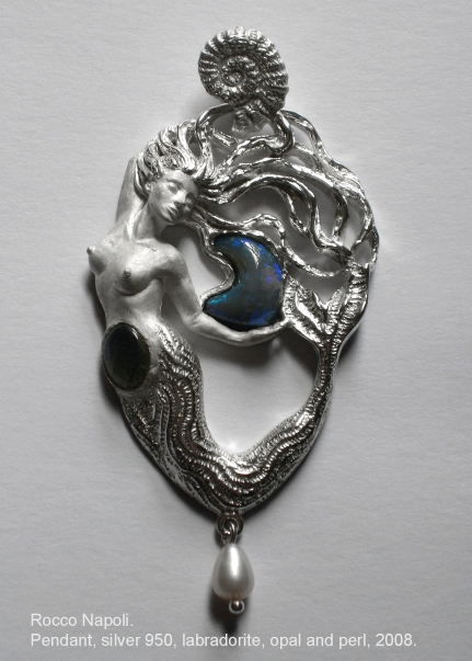 Pendant in silver 950, labradorite, opal and pearl, metal casting work, one of a kind, 2008.