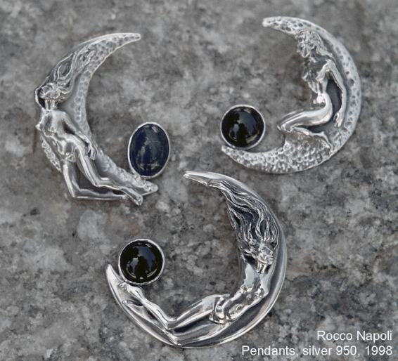 MOON Pendants, 6 cm in length, silver 950, lapislazuli and onice, metal casting work, one of a kind, 1999.