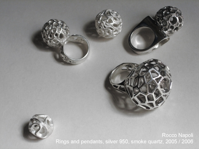 Rings and pendants, silver 950, smoke quartz, metal casting work, one of a kind, 2005 - 2006.