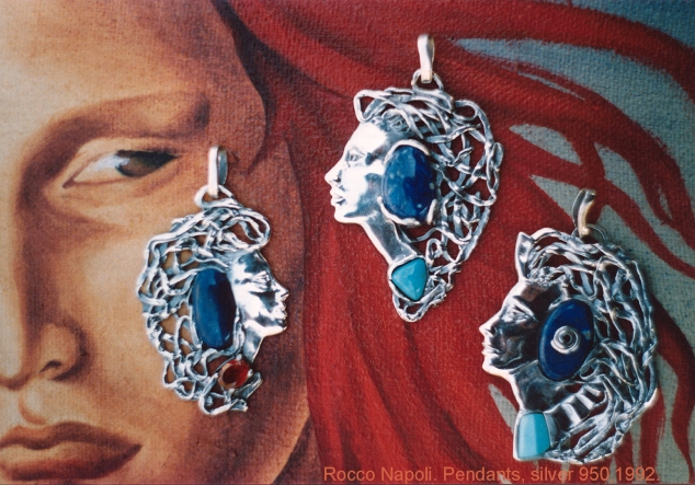 Pendants, silver 950, lapislazuli, garnet and turquoise, metal casting work, one of a kind, 1992.