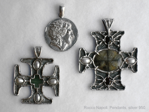 Pendants. Silver 950, fresh water pearls, garnet, green quart, cross stone, metal casting, one of a kind.