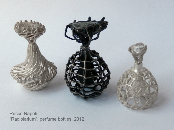 "RADIOLARIUM Parfume bottles, 2012. Silver 950, geodes and rock crystal. Lost wax metal casting, one of a kind.  Showed in ""UNA JOYA UN AROMA"" Exhibition at GALERIA ORFEBRES, Valparaíso."