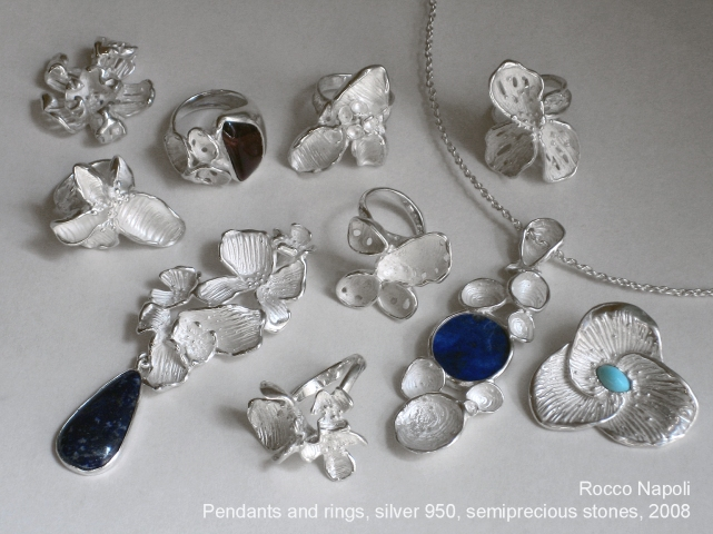 Pendants and rings, silver 950, bull eye stone, lapislazuli and turquoise, metal casting work, one of a kind, 2008.