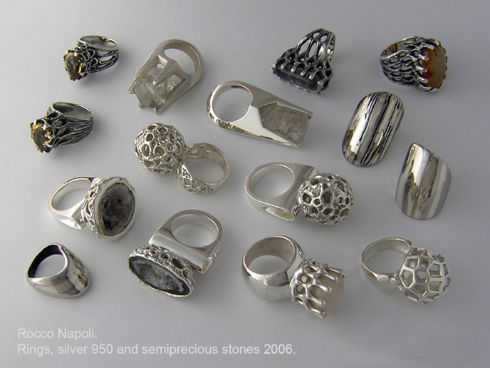 RINGS Silver 950, stainless steel, quartz crystals, citrine quartz, geodes and agates, lost wax casting, one of a kind.