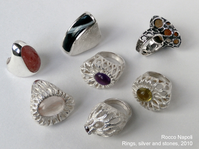 Rings, silver 950, amethyst, agate, citrine quartz, rodocrosita  and garnet, metal casting work, one of a kind, 2010.