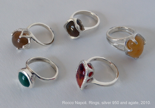 Rings, silver 950 and agate, metal casting, one of a kind, 2010.