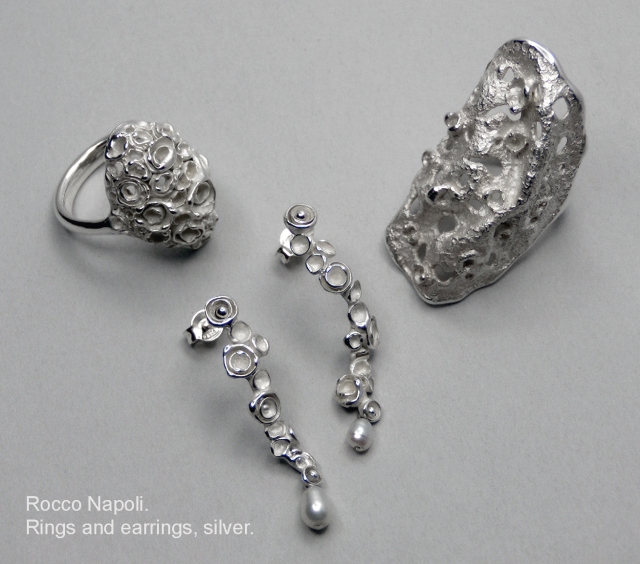 Rings and earrings, silver 950 and fresh water pearls, metal casting work, one of a kind, 2009.
