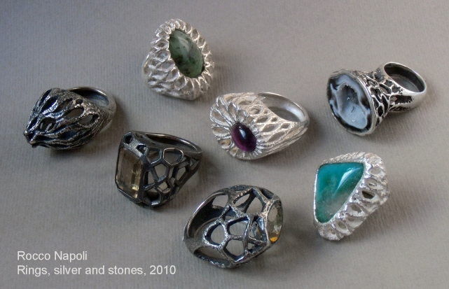 Rings, silver 950, amethyst, citrine quartz, geode, green quartz, jadeite and garnet, metal casting work, one of a kind, 2010.